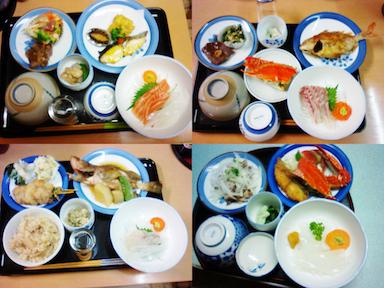 夕食②刺身は日替わり。魚は地魚です。とれたての生きてるもの。肉も一品あります。