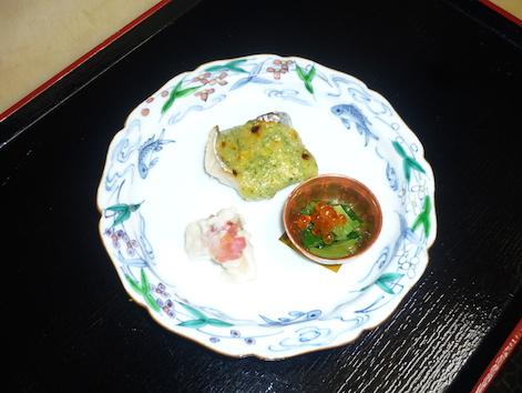 焼き物(太刀魚葱玉味噌焼・鰤蕉寿司・浸しイクラのせ)