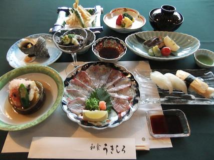 さつき会席:旬の食材を使った会席料理(一例)です。
