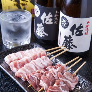豚トロツラミ&焼酎佐藤白ラベルと黒ラベル